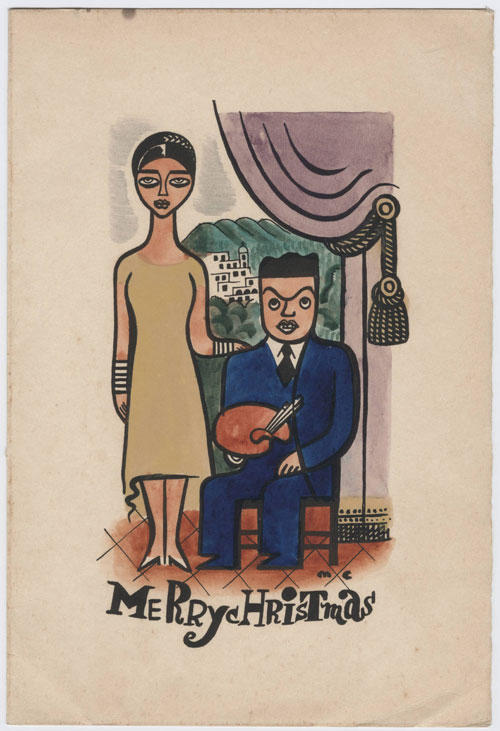 Hand painted Christmas card: Portrait of Rose and Miguel Covarrubias